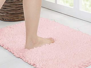 Walensee Bathroom Rug Non Slip Bath Mat  24x17 Inch Blush  Water Absorbent Super Soft Shaggy Chenille Machine Washable Dry Extra Thick Perfect Absorbant Best Small Plush Carpet for Shower Floor