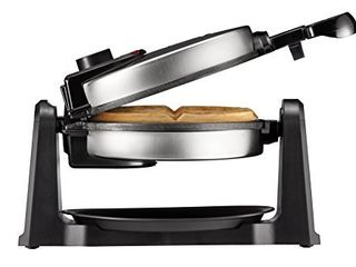 Chefman Rotating Belgian Waffle Maker  180A Flip Iron w  Non Stick Plates  Adjustable Timer  locking lid    Drip Plate  Space Saving Storage  Mess Free Breakfast  Stainless Steel Black