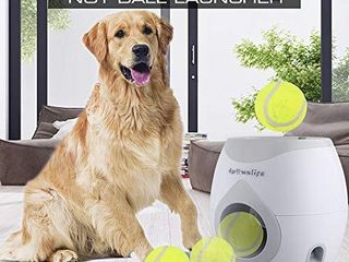 4pawslife Automatic Dog Feeder  Interactive Dog Ball Fetch and Treat Dispenser Treat Toy Tennis Ball Reward Machine for Dogs  Funny Dog Foraging Play Toy