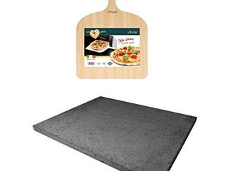 Eppicotispai Pizza Set with Cooking Stone and Pizza Peel  Silver