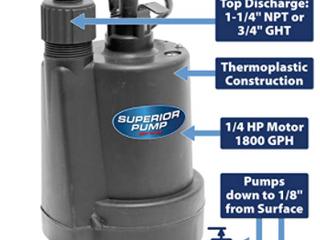 SUPERIOR PUMP SUBMERSIBlE UTIlITY PUMP 1 4 HP
