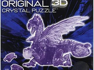 Bepuzzled Deluxe 3D Crystal Jigsaw Puzzle   Purple Dragon DIY Assembly Brain Teaser  Fun Model Toy Gift Decoration for Adults   Kids Age 12   Up  56Piece  level 3