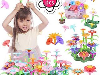 QIAOKUAN Flower Garden Building Toys for Kids Building Bouquet Floral Arrangement Playset for Age 3 4 5 6 7 Year Old Toddlers Building Blocks Educational Creative Playset Pretend Gardening Gifts