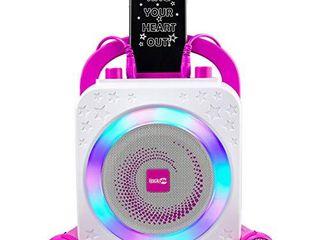 RockJam Party Karaoke Machine With Bluetooth  10Watt Speaker   Two Microphones  Pink  10 Watt  RJPS150 PK