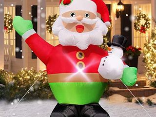 TOPlEE 5 Foot Christmas Inflatable Santa Claus with Snowman Blow Up Christmas Outdoor Decorations with Tethers Stakes lED lights Holiday Xmas Party Decorations Indoor Outdoor lawn Garden Home Party