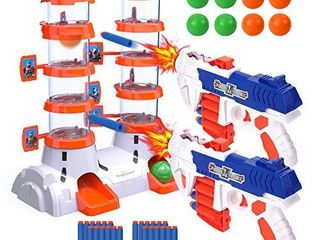 EagleStone Shooting Targets for Shooting Games  2020 Newest Double Barrel Target for Nerf with 2 Shooting Blaster Guns  24 Foam Darts   8 Balls  Kids 6  7  8  9  10  Shooting Practice for Nerf Toys