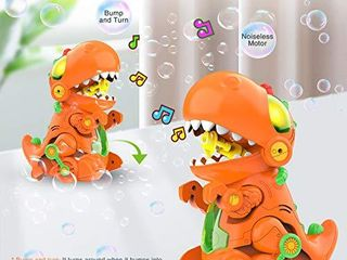 WisToyz Dino Bubble Machine Bubble Blower  Mobile   Stationary Two Settings  Bump N Go Feature  Music   light  Bubble Machine for Kids  Two Bottles of Bubble Solution   Screwdriver Included