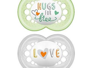 MAM Attitude Pacifier  2 pack  1 Sterilizing Pacifier Case  Pacifiers 6 Plus Months  Unisex Baby Pacifiers  Best Pacifiers for Breastfed Babies