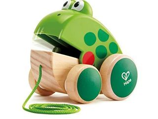 Hape Frog Pull Along   Wooden Frog Fly Eating Pull Toddler Toy  Bright Colors