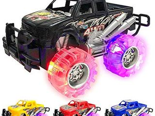 light Up Monster Truck Set for Boys and Girls by ArtCreativity   Set Includes 4  6 Inch Monster Trucks with Beautiful Flashing lED Tires   Push n Go Toy Cars Best Gift for Kids   for Ages 3