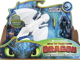 Dreamworks Dragons  lightfury and Hiccup  Dragon with Armored Viking Figure  for Kids Aged 4 and Up