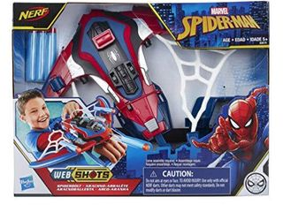 Marvel Spider Man Web Shots Spiderbolt NERF Powered Blaster Toy  Fires Darts  Includes 3 Darts And Instructions  For Kids Ages 5 and Up