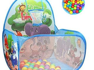Ball Pit Basketball Hoop Play Tent for Kids and Toddlers  Animals Forest Theme Playhouse   60 Balls Included a Perfect for Indoor and Outdoor  Gift for Kids  Easy Toy Storage   Carrying Handle