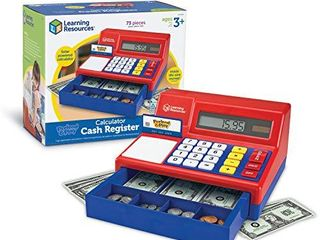 learning Resources Pretend   Play Calculator Cash Register  Classic Counting Toy  Kids Cash Register  73 Pieces  Ages 3