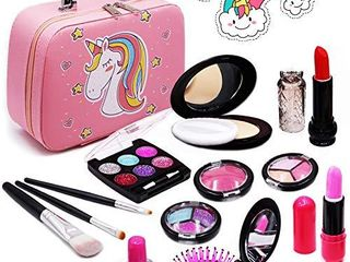 Senrokes Washable Makeup Unicorn Cosmetic Toy Girls Play Real Makeup Kit  Princess Unicorn Makeup for Girls   Toddlers  Safe   Non Toxic Beauty Set for 3 4 5 6 7 8 9 10 Year Old Girl Birthday Gifts