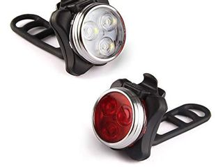 Ascher USB Rechargeable Bike light Set Super Bright Front Headlight and Rear lED Bicycle light 650mah lithium Battery 4 light Mode Options 2 USB cables and 4 Strap Included