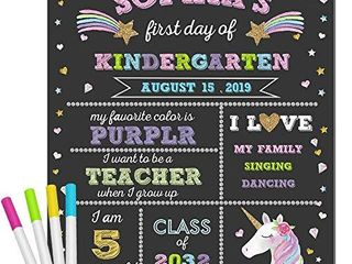 First Day of School Chalkboard   Unicorn Theme First Day of School Sign Photo Prop   1st Day Back to School Sign   Reusable Erasable 12 x 16 inch   Use Chalk to Personalize
