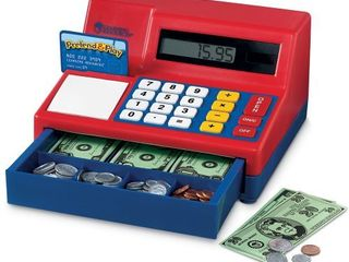 learning Resources Pretend   Play Calculator Cash Register  73 Pieces