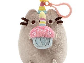 GUND Pusheen Snackable Birthday Cupcake Cat Plush Stuffed Animal Backpack Clip  Gray  5   4060837