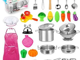 30pcs Kids Kitchen Pretend Play Toys Toy Kitchen Set with Stainless Steel Cooking Utensils Cookware Pots and Pans Set Healthy Vegetables  Knife  little Chef for Toddlers   Children Boys Girls