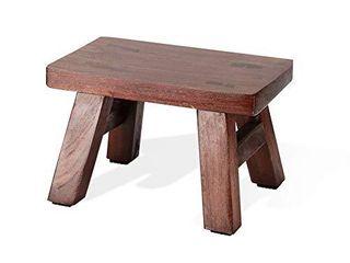 liitrton Solid Wood Step Stool Reclaimed Handmade Footstool for Bedroom living Room Bathroom  l  Brown