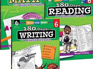 180 Days of Practice for Sixth Grade  Set of 3  6th Grade Workbooks for Kids Ages 10 12  Includes 180 Days of Reading  180 Days of Writing  180 Days of Math