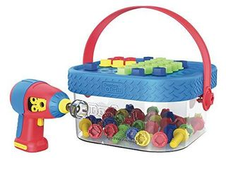 Educational Insights Design   Drill Bolt It Bucket  Easter Toy  Portable  Travel Friendly Drill Toy Set  56 Piece Set  Perfect for Boys   Girls Ages 3