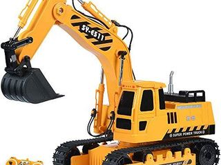 Remote Control Excavator RC Toy 1 20 RC Excavator Fully Functional Construction Tractor  11 Channel Rechargeable RC Truck with lights Sounds 2 4Ghz Transmitter for Boys Girls Kids