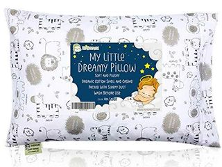 Toddler Pillow with Pillowcase   13X18 Soft Organic Cotton Baby Pillows for Sleeping   Machine Washable   Toddlers  Kids  Infant   Perfect for Travel  Toddler Cot  Bed Set