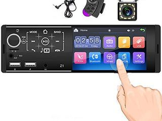 Single Din Touchscreen Radio Bluetooth Car Stereo 4 Inch FM AM Tuner with Rear Microphone Input USB SD AUX Input   Rear View Camera   Steering Wheel Control