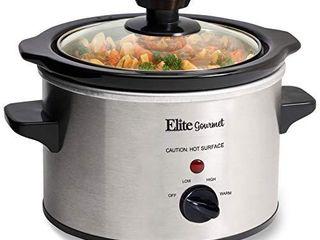 Elite Gourmet lid   Ceramic Pot Slow Cooker with Adjustable Temp  Entrees  Sauces  Stews   Dips  Dishwasher Safe Glass lid   Crock  1 5 Quart  Stainless Steel