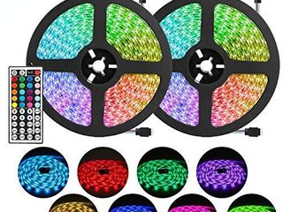 DlIANG RGB lED Strip light Kit 65 6ft Flexible Tape lights 5050 SMD RGB 600 lEDs Non Waterproof 20M Rope light with 44 Keys IR Remote Controller and 12V Power Adapter for Home Kitchen Party Deco