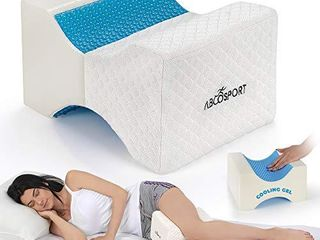 Abco Tech Memory Foam Knee Pillow with Cooling Gel leg Pillow Wedge for Side Sleepers  Pregnancy  Spine Alignment and Pain Relief Breathable  Hypoallergenic and Comfortable with Washable Cover