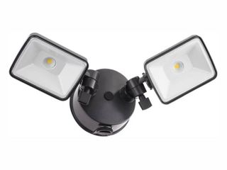 lithonia lighting OlF 2SH 40K 120 PE BZ M4 2 Head Dusk to Dawn Outdoor lED Square Flood light  Black Bronze