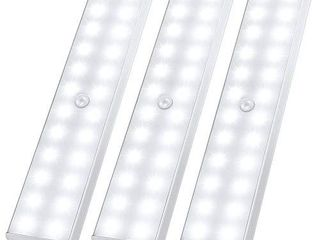 lED Closet light  24 lED Newest Version Rechargeable Motion Sensor light Under Cabinet Wireless Stick Anywhere Night Safe light Bar with large Battery for Stairs Wardrobe Kitchen Hallway  3 Pcs