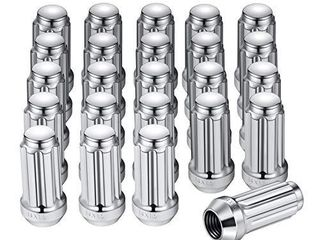 M14x1 5 Spline lug Nuts with Cone Seat  Chrome Plated Wheel Accessories Compatible with Chevrolet Silverado Suburban 1500 Ford Expedition F 150 Ram 1500  More  Set of 24