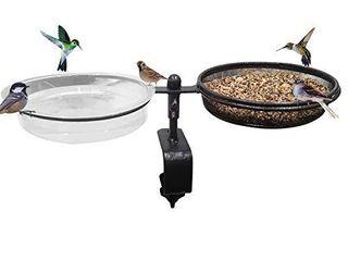 Deck Bird Feeders Deck Mount Bird Bath Spa for Dual Use Deck Flower Stand Flower Pot Great for Attracting Birds Detachable and Adjustable Heavy Duty Sturdy Steel Bronze