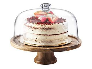 Godinger Cake Stand  Footed Cake Plate Server with Dome  Acaciawood and Shaterproof Acrylic lid