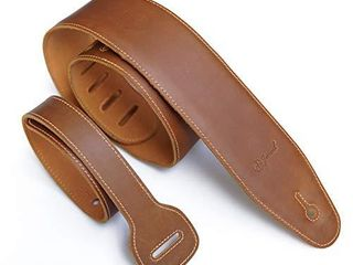 Jeereal Full Grain Genuine Padded Soft leather Guitar Strap  2 75  Width  for Electric  Acoustic  and Bass Guitars  Bourbon Brown