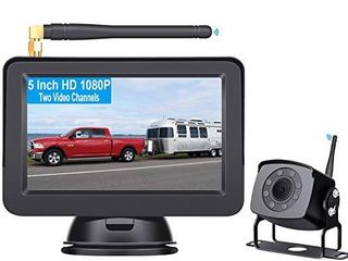 Rohent HD 1080P Digital Wireless Backup Camera with 5  Monitor High Speed Observation System for Trucks RVs Motorhomes Trailers Guide lines DIY R5