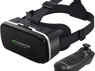 VR SHINECON Headset with Remote Controller 3D Glasses Goggles HD Virtual Reality Headset Compatible with iPhone   Android Phone Eye Protected Soft   Comfortable Adjustable Distance for Phones 4 7 6 53