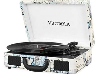 Victrola Vintage 3 Speed Bluetooth Portable Suitcase Record Player with Built in Speakers   Upgraded Turntable Audio Sound  Includes Extra Stylus   Retro Map  VSC 550BT P4