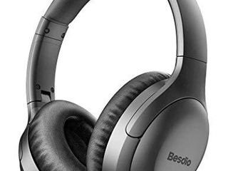 Active Noise Cancelling Headphones  Wireless Headphones Bluetooth Headphones with Mic  BesDio Over Ear Headphones with Quick Charge  Bluetooth 5 0 Deep Bass  30H Playtime for Online Class Home Work PC