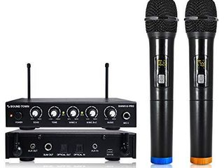 Sound Town 16 Channels Wireless Microphone Karaoke Mixer System with Optical  Toslink  AUX and 2 Handheld Microphones   Supports Smart TV  Home Theater  Sound Bar  SWM16 PRO