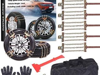 Tire Chains  Snow Chains for suvs  Cars  Sedan  Family Automobiles Trucks with Update Adjustable lock for Ice  Snow Mud Sand Applicable Tire Width 215 315mm 8 5 12 4in  6 PCS   Three Style