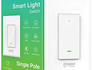 Smart light Switch  Gosund 2 4Ghz Wifi light Switch Works with Alexa  Google Assistant  Remote Control Voice Control and Schedule  Neutral Wire Required  Single Pole  No Hub Required