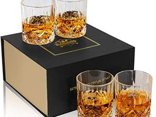 KANARS Old Fashioned Whiskey Glasses with luxury Box   10 Oz Rocks Barware For Scotch  Bourbon  liquor and Cocktail Drinks   Set of 4