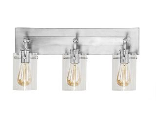 Hampton Bay Regan 21 in  3 light Brushed Nickel Vanity light with Clear Glass Shades