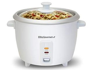 Elite Gourmet ERC 003 Electric Rice Cooker with Automatic Keep Warm Makes Soups  Stews  Grains  Hot Cereals  6 Cups Cooked  3 Cups Uncooked  White