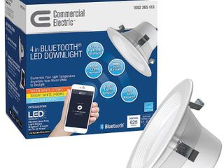 Commercial Electric CE Bluetooth 4  White lED Recessed Trim 1002365413   New